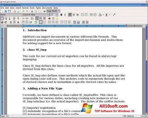 截圖 AbiWord Windows 10