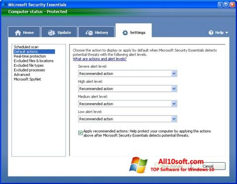 截圖 Microsoft Security Essentials Windows 10